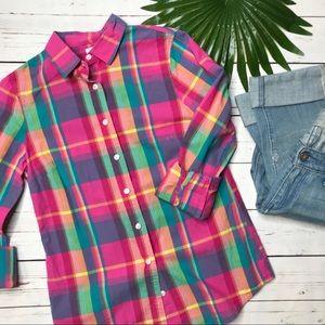 {J. Crew} sz XS Perfect Shirt in pink plaid